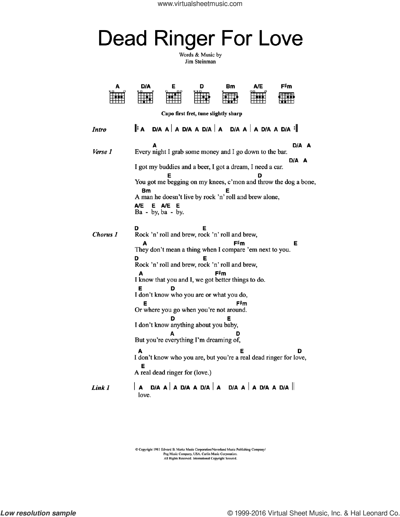 Dead Ringer For Love sheet music for guitar (chords) by Cher, Meat Loaf and Jim Steinman, intermediate skill level