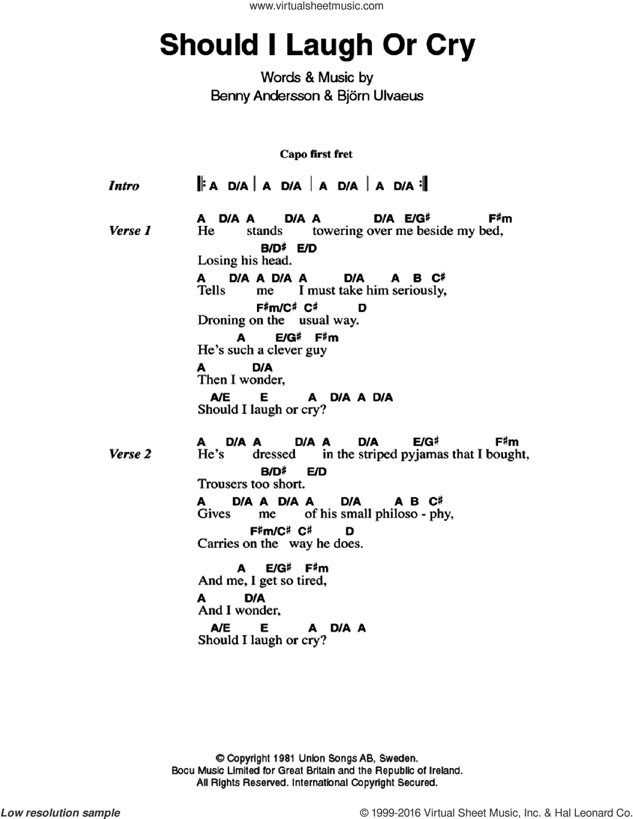Should I Laugh Or Cry sheet music for guitar (chords) by ABBA, Benny Andersson and Bjorn Ulvaeus, intermediate skill level