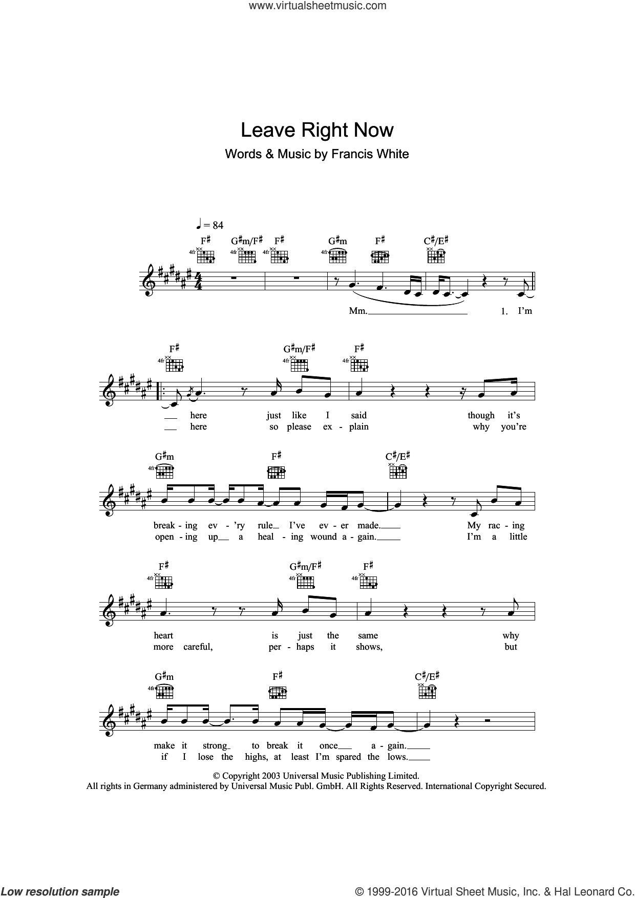 Leave Right Now sheet music for voice and other instruments (fake book) by Francis White and Will Young. Score Image Preview.