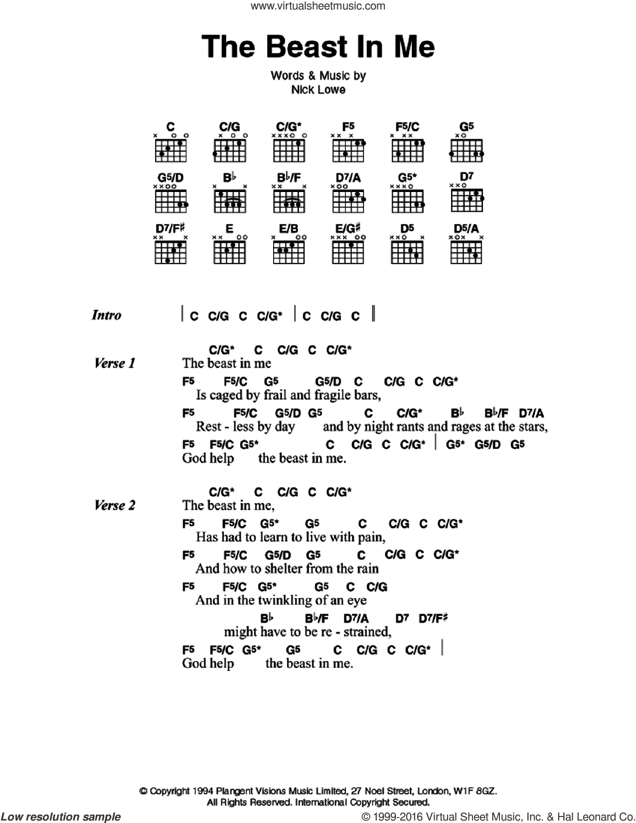 The Beast In Me sheet music for guitar (chords) by Nick Lowe and Johnny Cash. Score Image Preview.