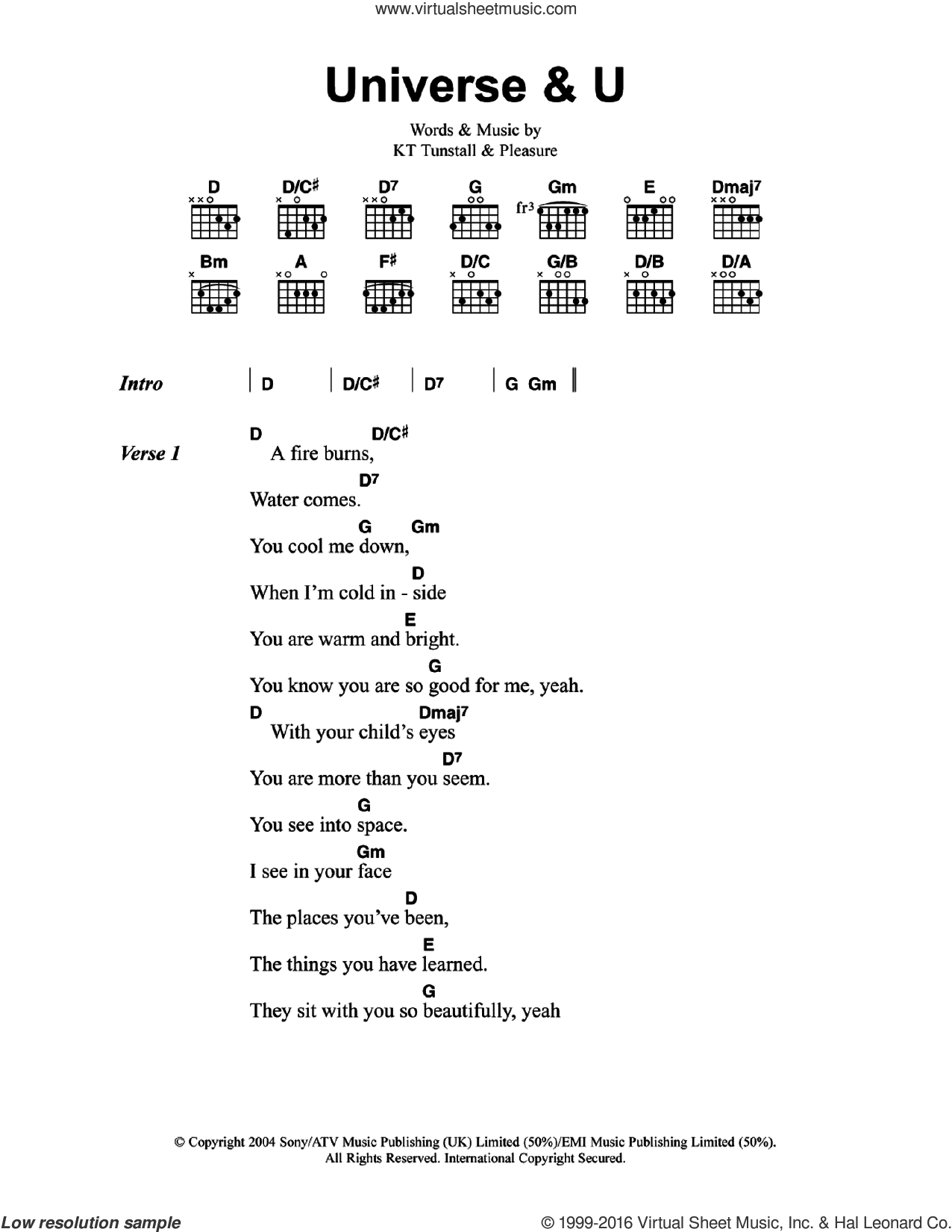 Universe and U sheet music for guitar (chords) by Pleasure and KT Tunstall. Score Image Preview.