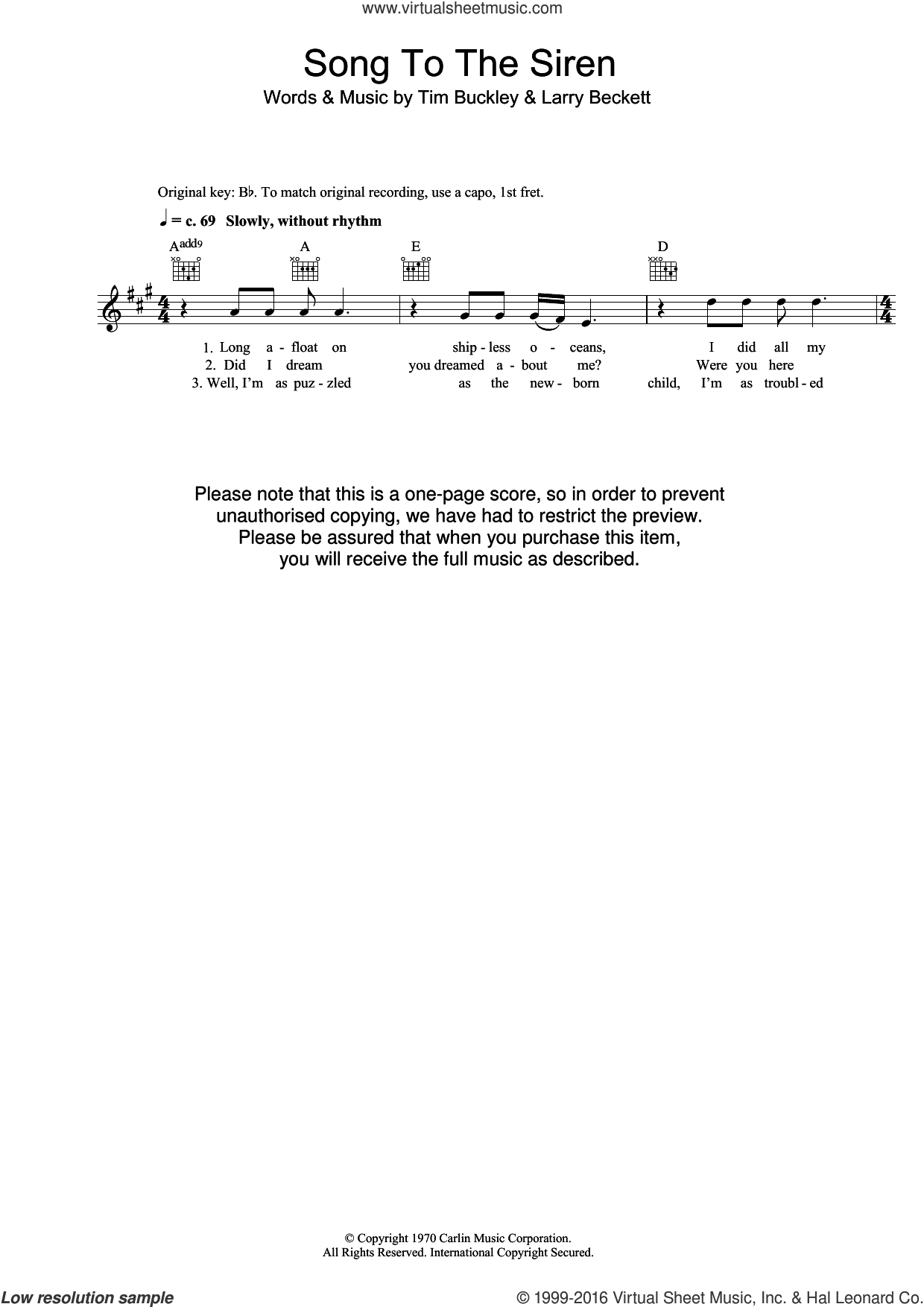 Song To The Siren sheet music for voice and other instruments (fake book) by Tim Buckley and Larry Beckett, intermediate skill level