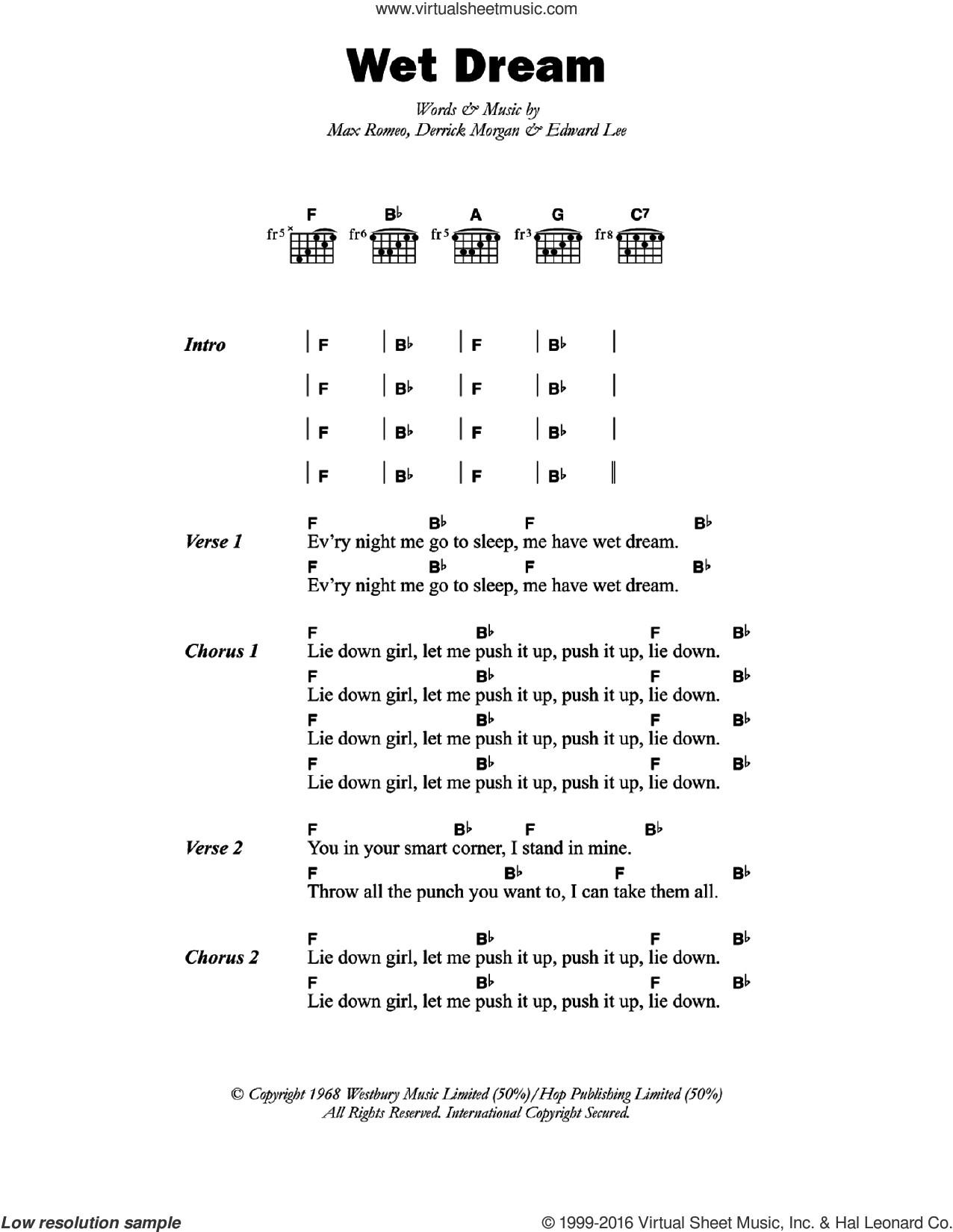 Romeo Wet Dream Sheet Music For Guitar Chords Pdf