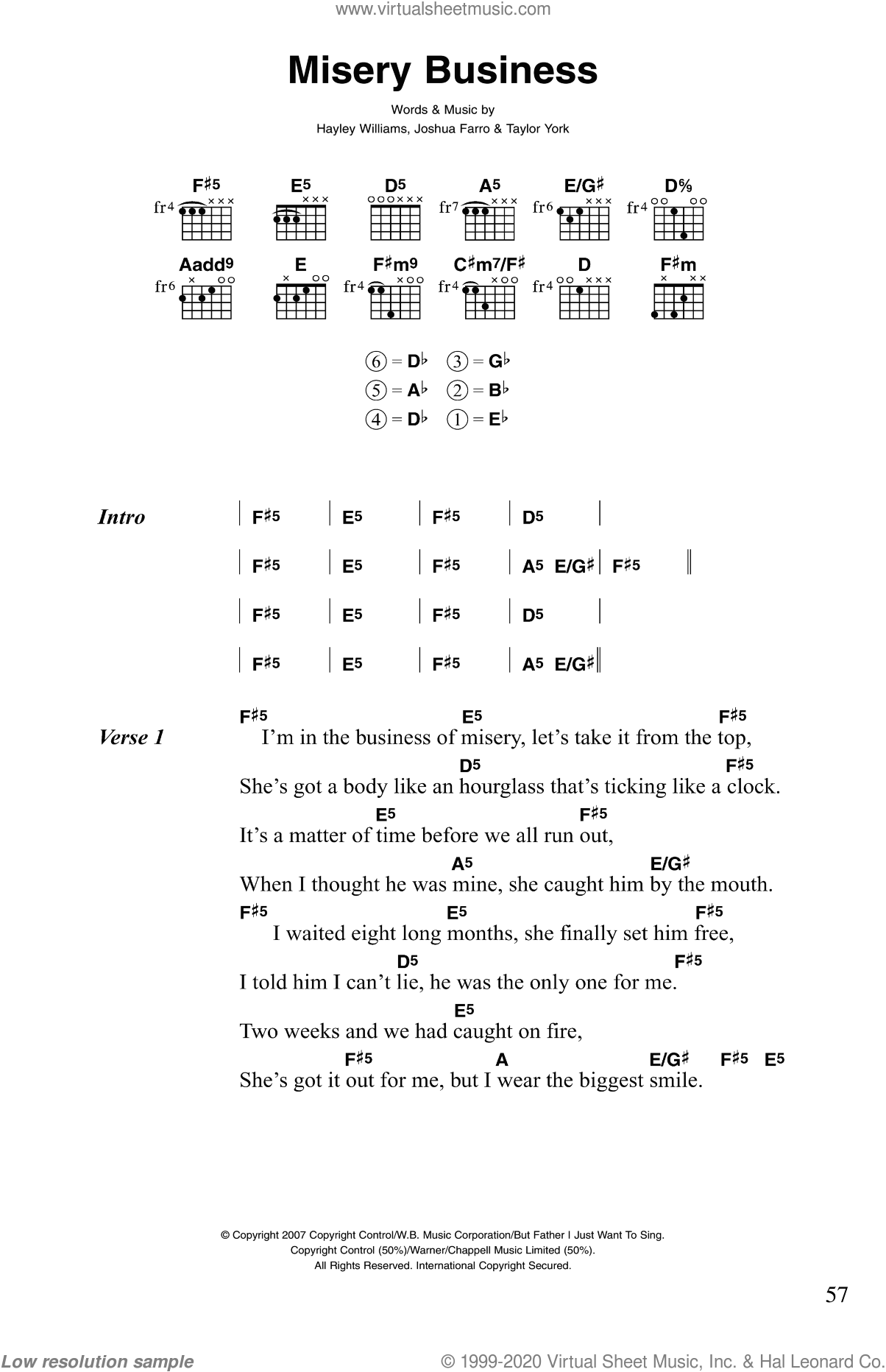 Paramore Misery Business Sheet Music For Guitar Chords Pdf