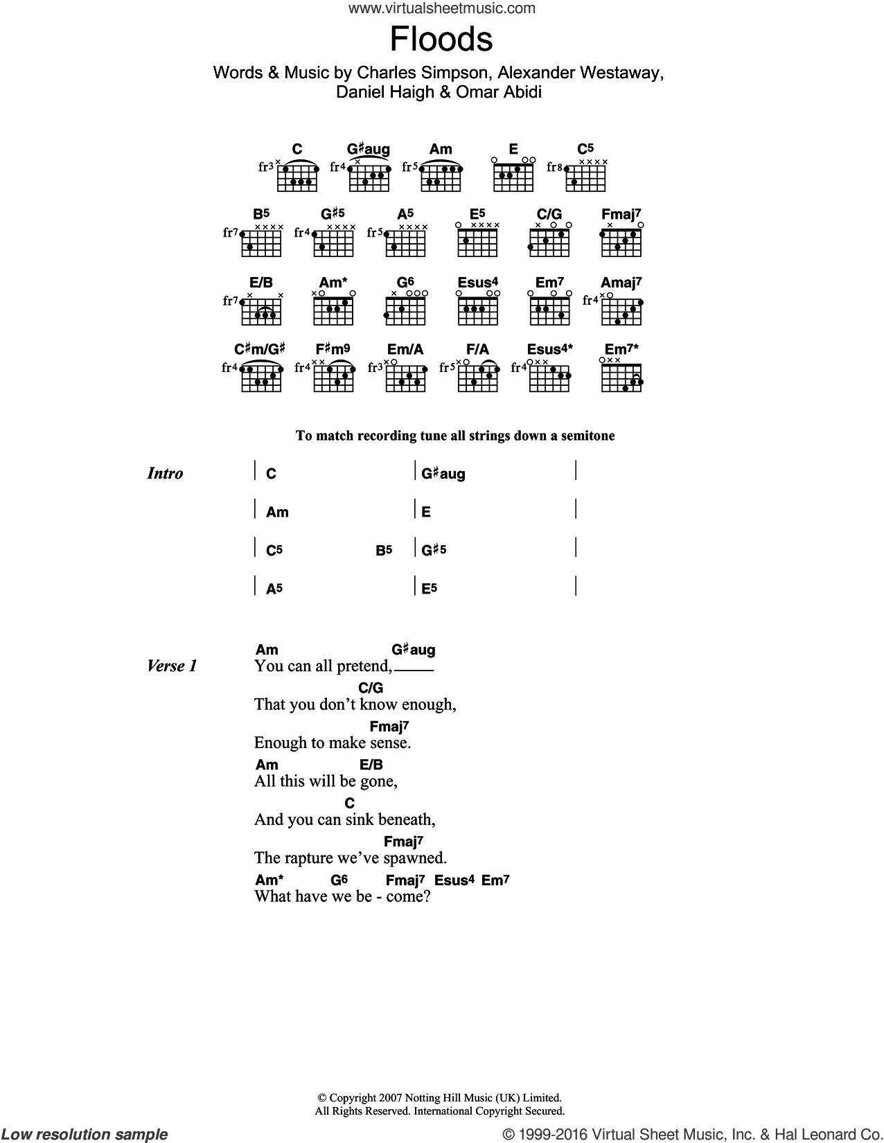 Floods sheet music for guitar (chords) by Omar Abidi. Score Image Preview.