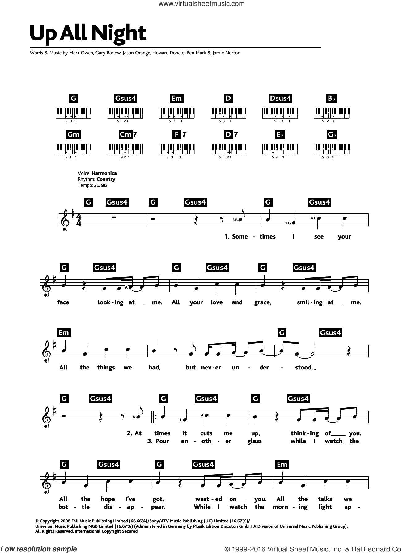 Up All Night sheet music for piano solo (chords, lyrics, melody) by Take That, Gary Barlow and Mark Owen. Score Image Preview.