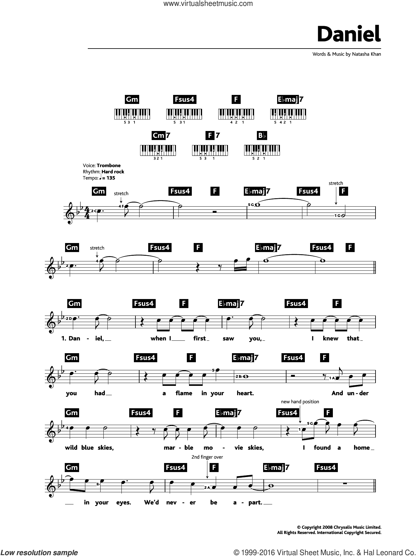 Daniel sheet music for piano solo (chords, lyrics, melody) by Bat For Lashes. Score Image Preview.