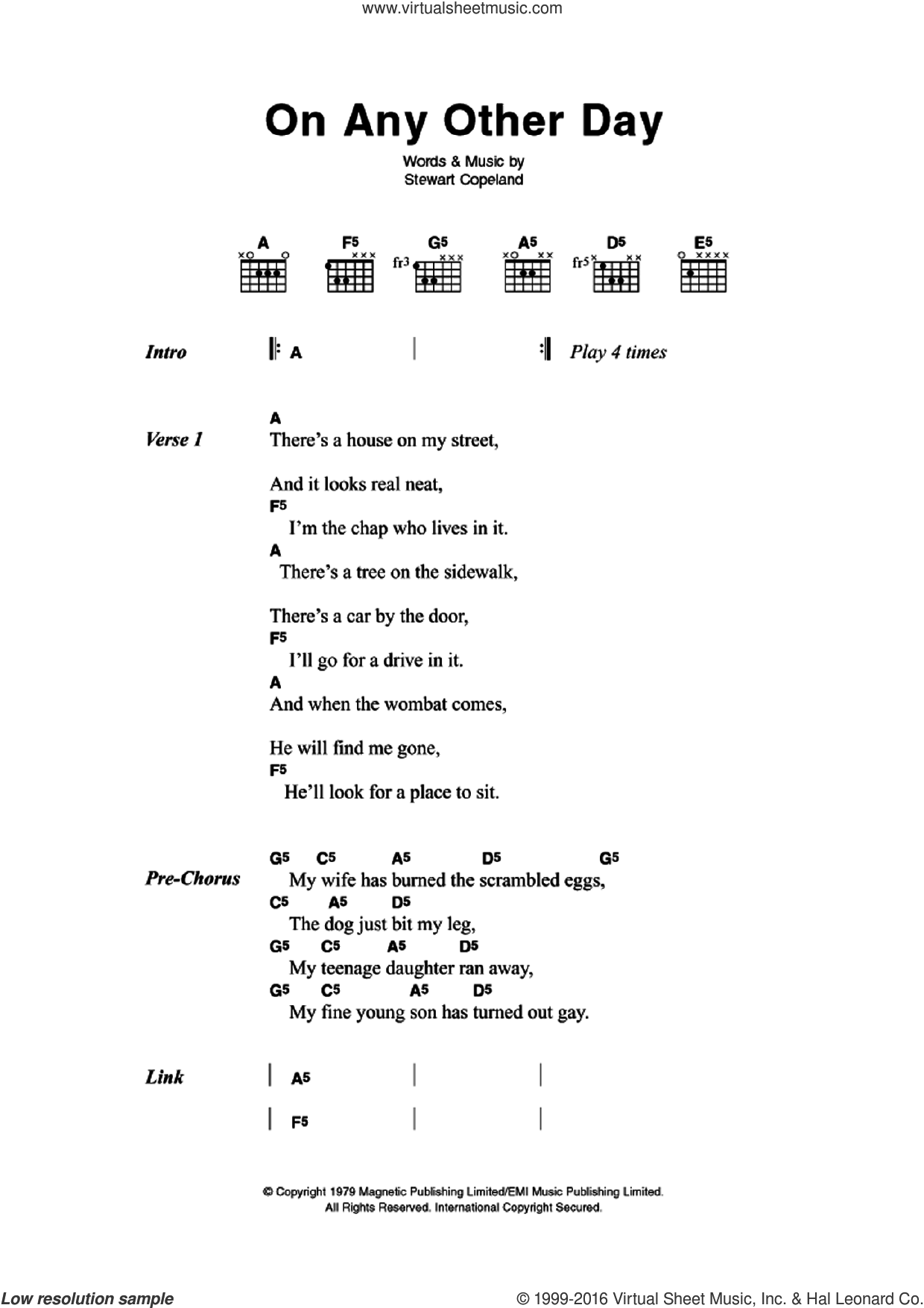 On Any Other Day sheet music for guitar (chords) by Stewart Copeland and The Police. Score Image Preview.