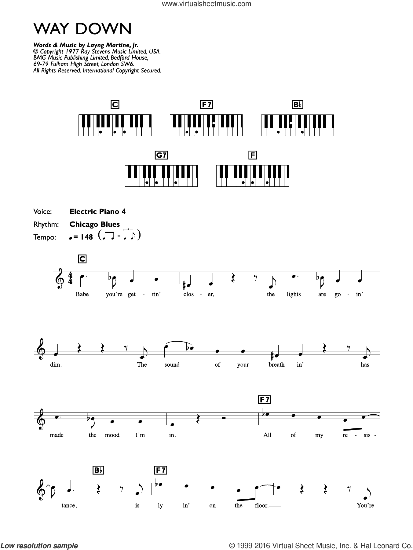 Way Down sheet music for piano solo (chords, lyrics, melody) by Elvis Presley, intermediate piano (chords, lyrics, melody). Score Image Preview.