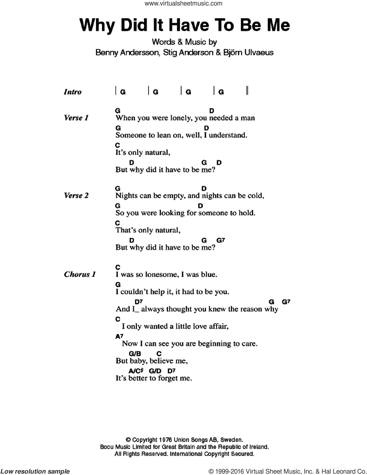 Why Did It Have To Be Me sheet music for guitar (chords) by ABBA, Benny Andersson, Bjorn Ulvaeus and Stig Anderson, intermediate skill level