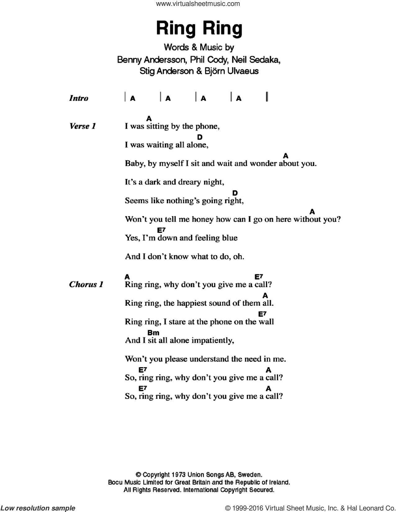 Ring, Ring sheet music for guitar (chords) by Stig Anderson, ABBA, Benny Andersson, Bjorn Ulvaeus, Neil Sedaka and Philip Cody. Score Image Preview.