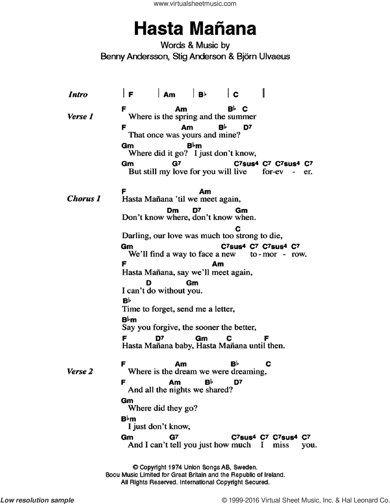 Hasta Manana sheet music for guitar (chords) by ABBA, Benny Andersson, Bjorn Ulvaeus and Stig Anderson, intermediate skill level