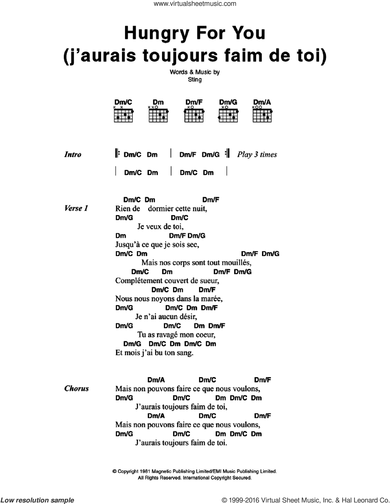 Hungry For You (J'aurais Toujours Faim De Toi) sheet music for guitar (chords) by Sting and The Police. Score Image Preview.