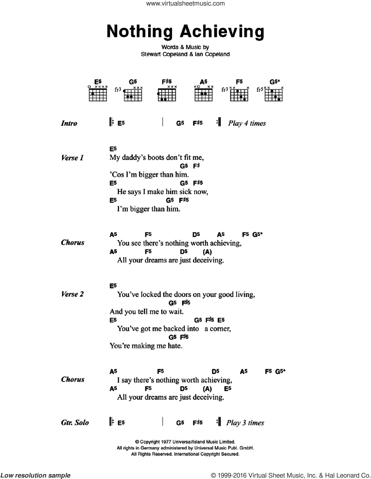 Nothing Achieving sheet music for guitar (chords) by Stewart Copeland and The Police. Score Image Preview.