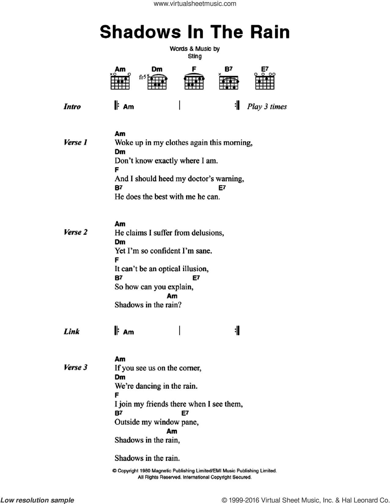 Shadows In The Rain sheet music for guitar (chords) by Sting and The Police. Score Image Preview.