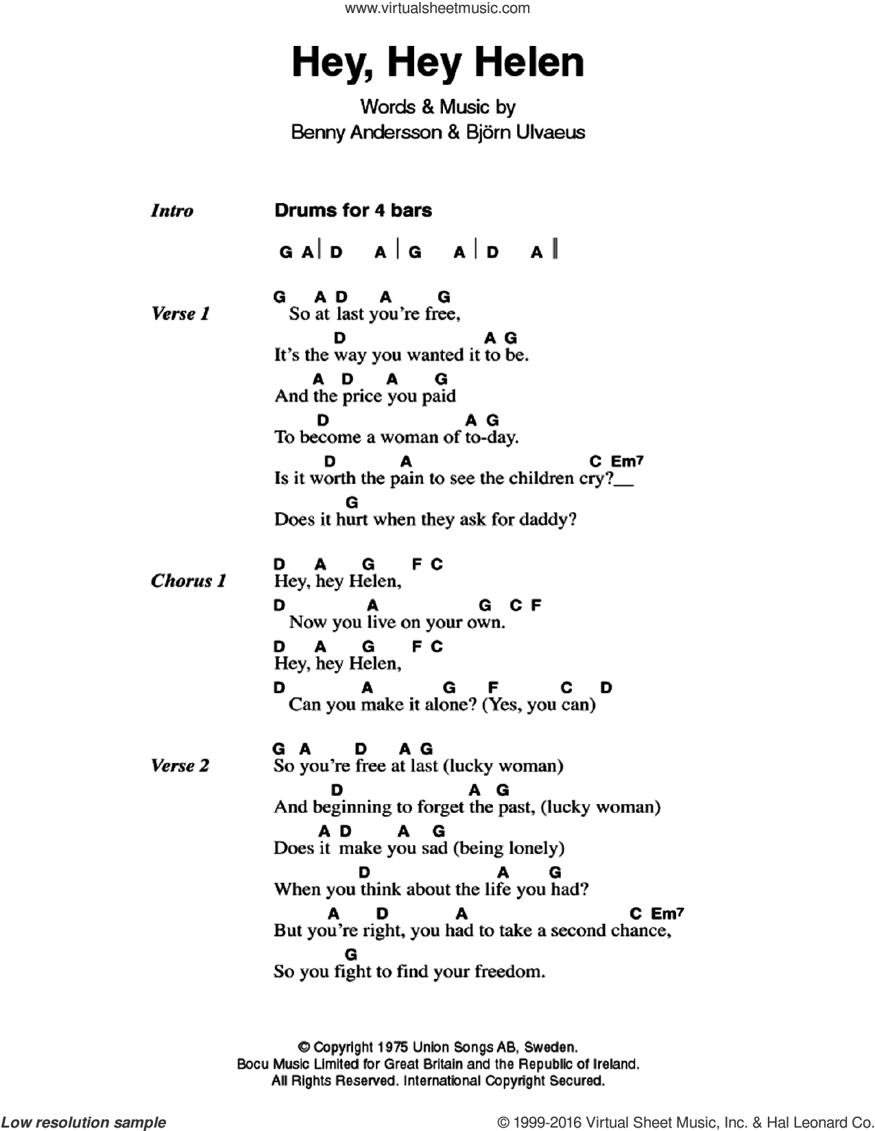 Hey, Hey Helen sheet music for guitar (chords) by ABBA, Benny Andersson and Bjorn Ulvaeus, intermediate skill level