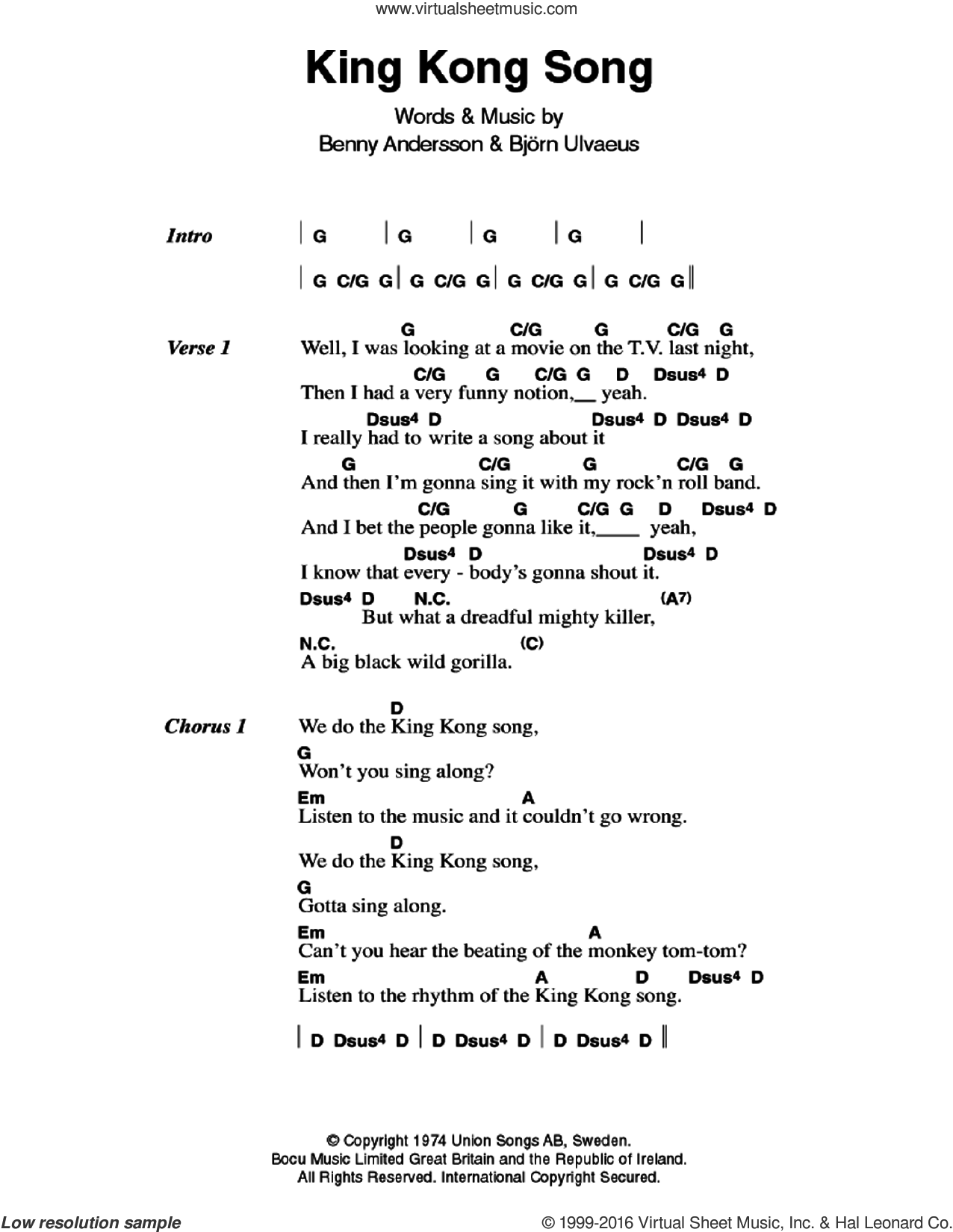 King Kong Song sheet music for guitar (chords) by ABBA, Benny Andersson and Bjorn Ulvaeus, intermediate. Score Image Preview.