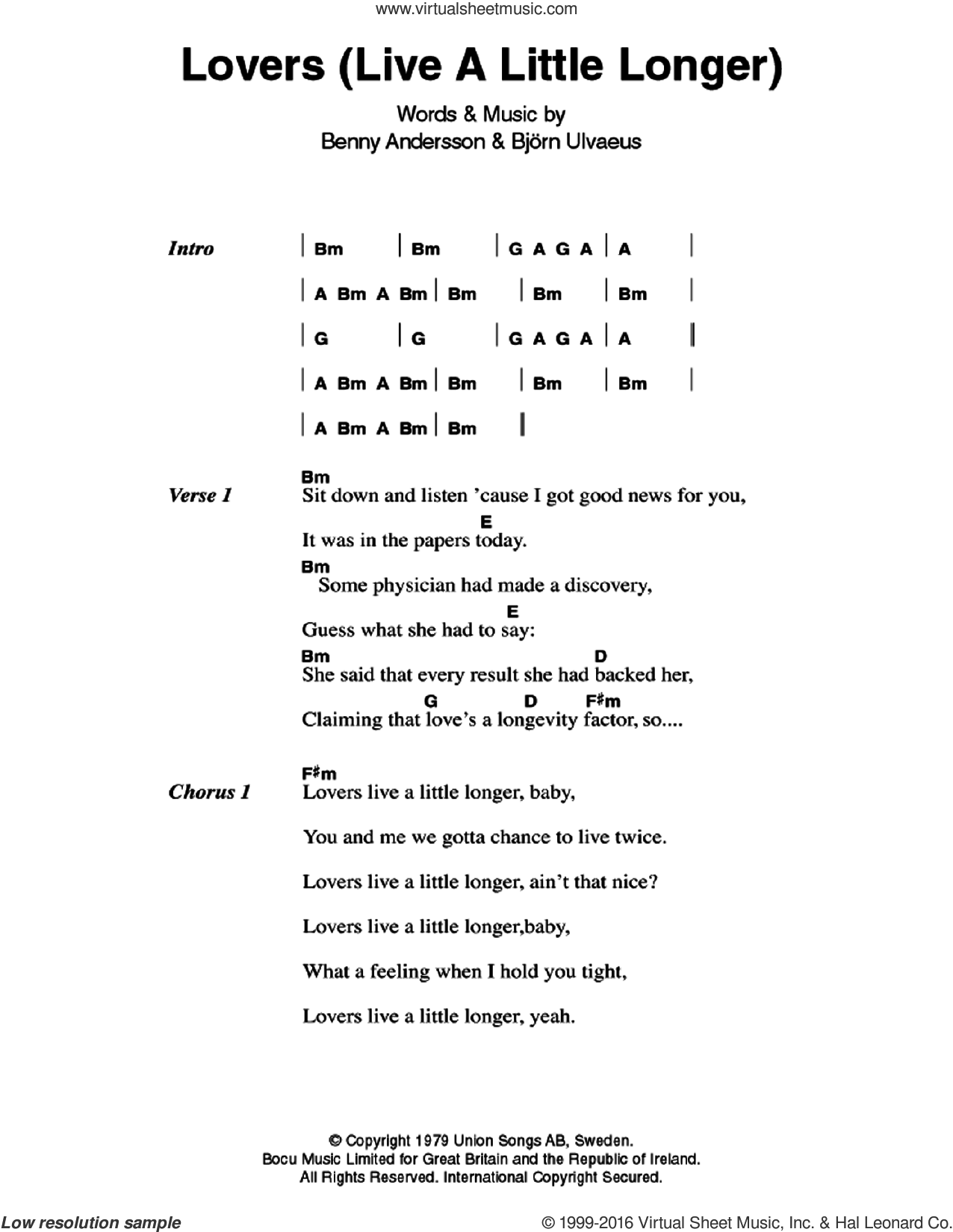 Lovers (Live A Little Longer) sheet music for guitar (chords) by Bjorn Ulvaeus, ABBA and Benny Andersson. Score Image Preview.