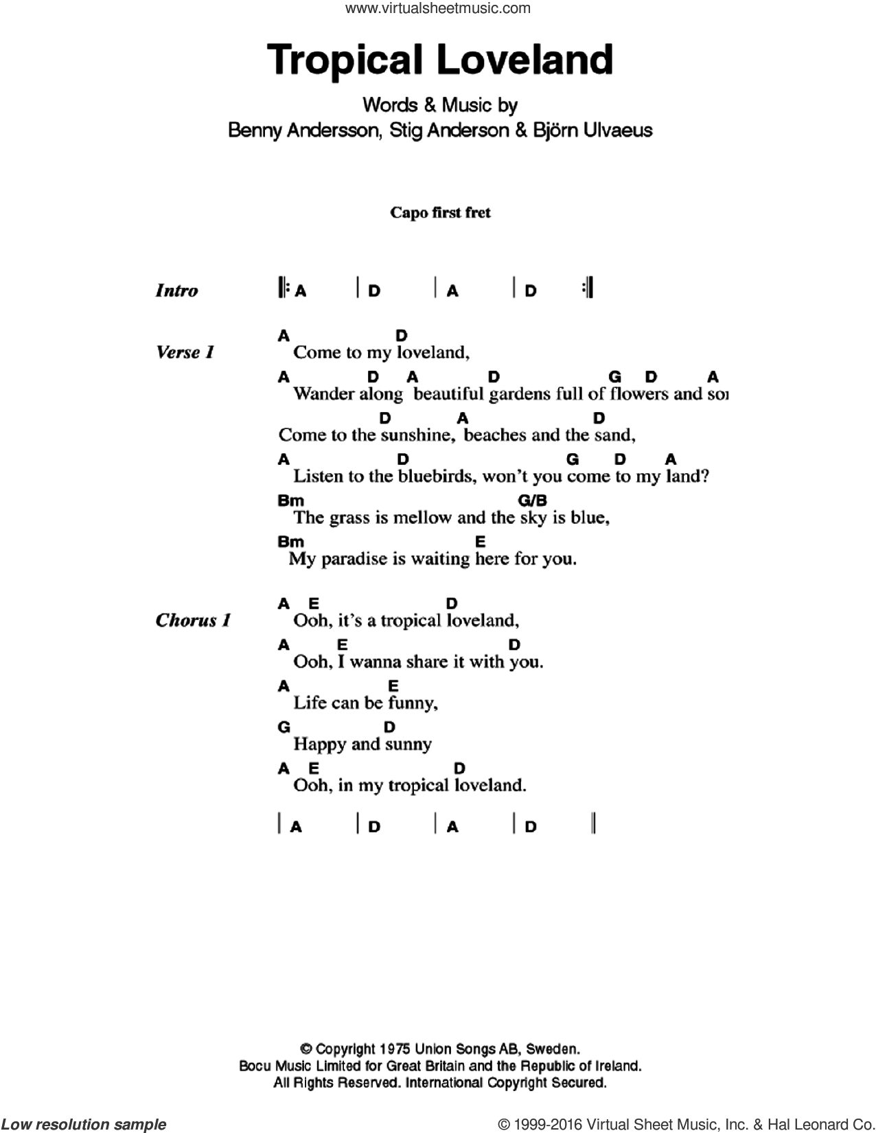 Tropical Loveland sheet music for guitar (chords) by ABBA, Benny Andersson, Bjorn Ulvaeus and Stig Anderson, intermediate skill level