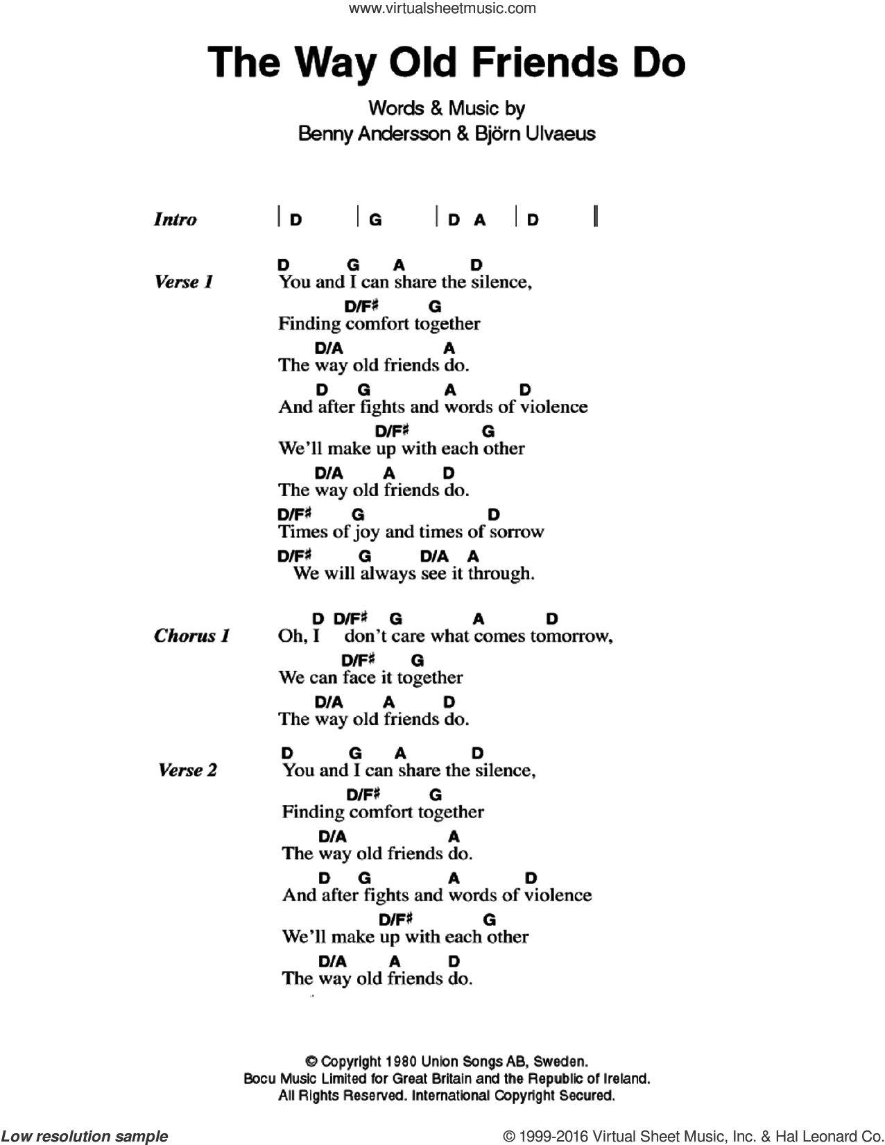 The Way Old Friends Do sheet music for guitar (chords) by ABBA, Benny Andersson and Bjorn Ulvaeus, intermediate. Score Image Preview.