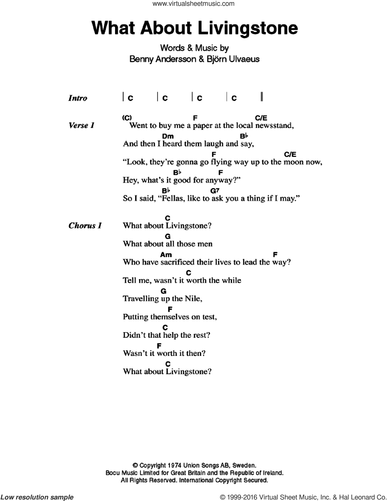 What About Livingstone sheet music for guitar (chords) by Bjorn Ulvaeus, ABBA and Benny Andersson. Score Image Preview.
