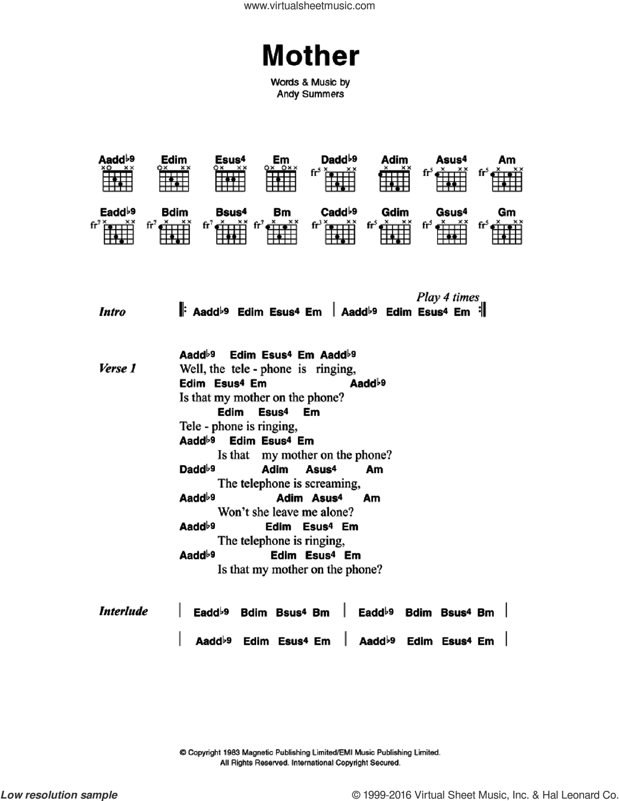 Mother sheet music for guitar (chords) by The Police. Score Image Preview.