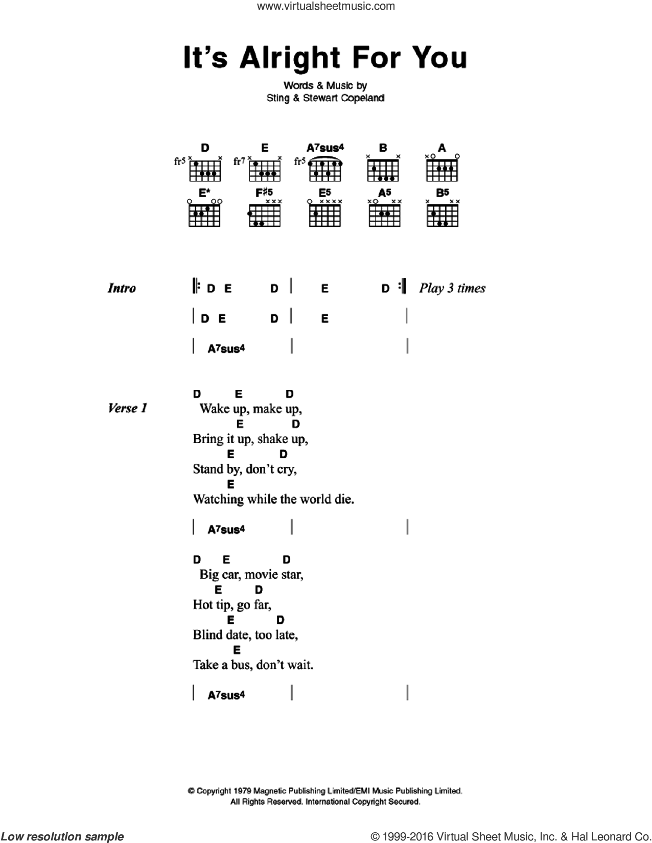 It's Alright For You sheet music for guitar (chords) by The Police, Stewart Copeland and Sting, intermediate. Score Image Preview.