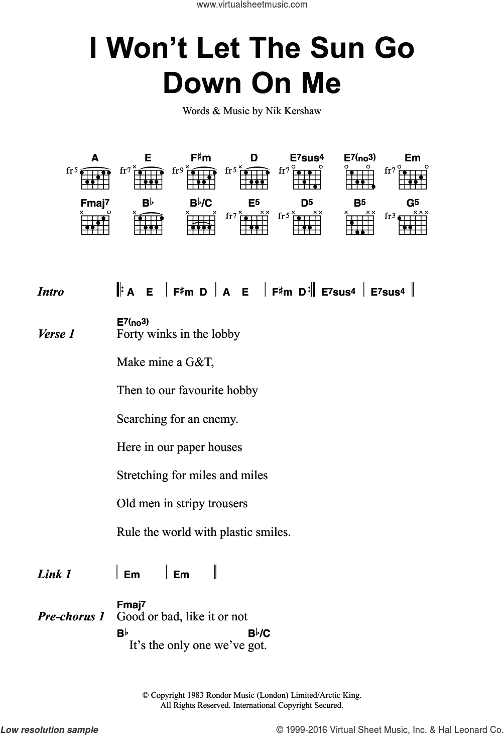 I Won't Let The Sun Go Down On Me sheet music for guitar (chords) by Nik Kershaw. Score Image Preview.