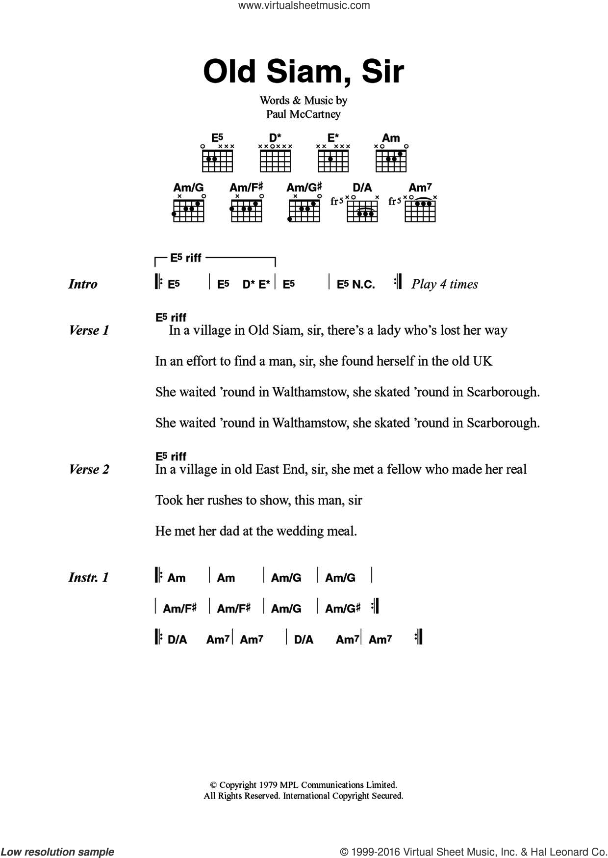 Old Siam, Sir sheet music for guitar (chords) by Wings and Paul McCartney. Score Image Preview.