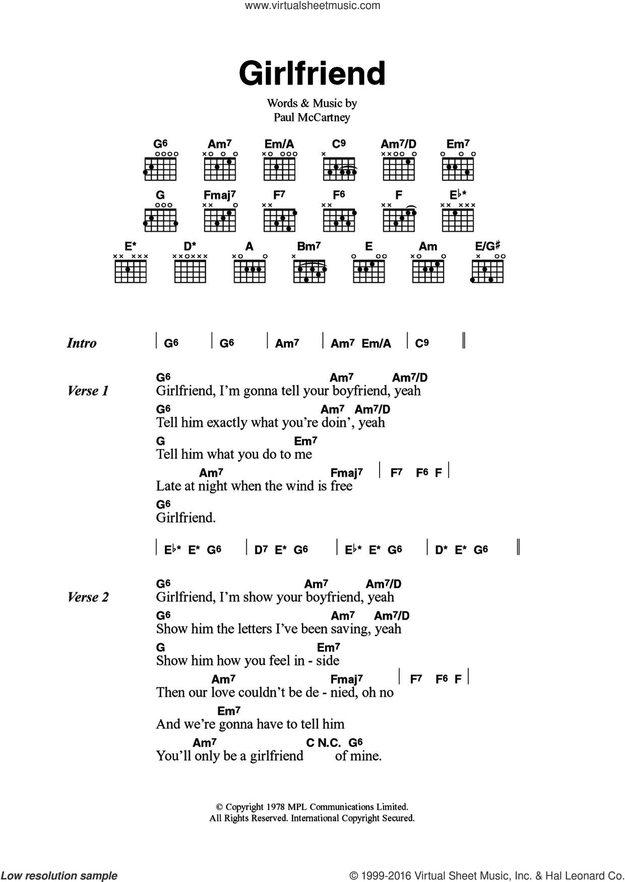 Girlfriend sheet music for guitar (chords) by Wings and Paul McCartney. Score Image Preview.