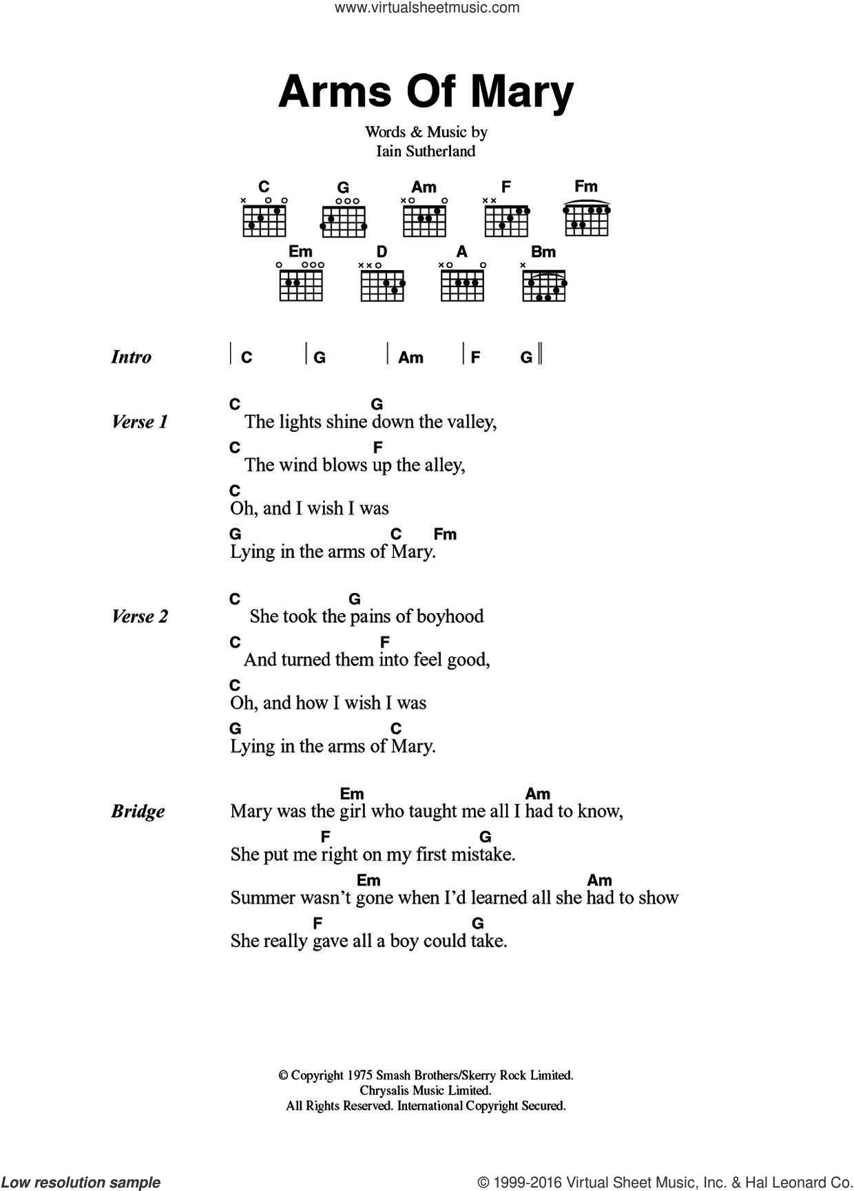 Arms Of Mary sheet music for guitar (chords) by Sutherland Brothers, Quiver and Iain Sutherland, intermediate skill level