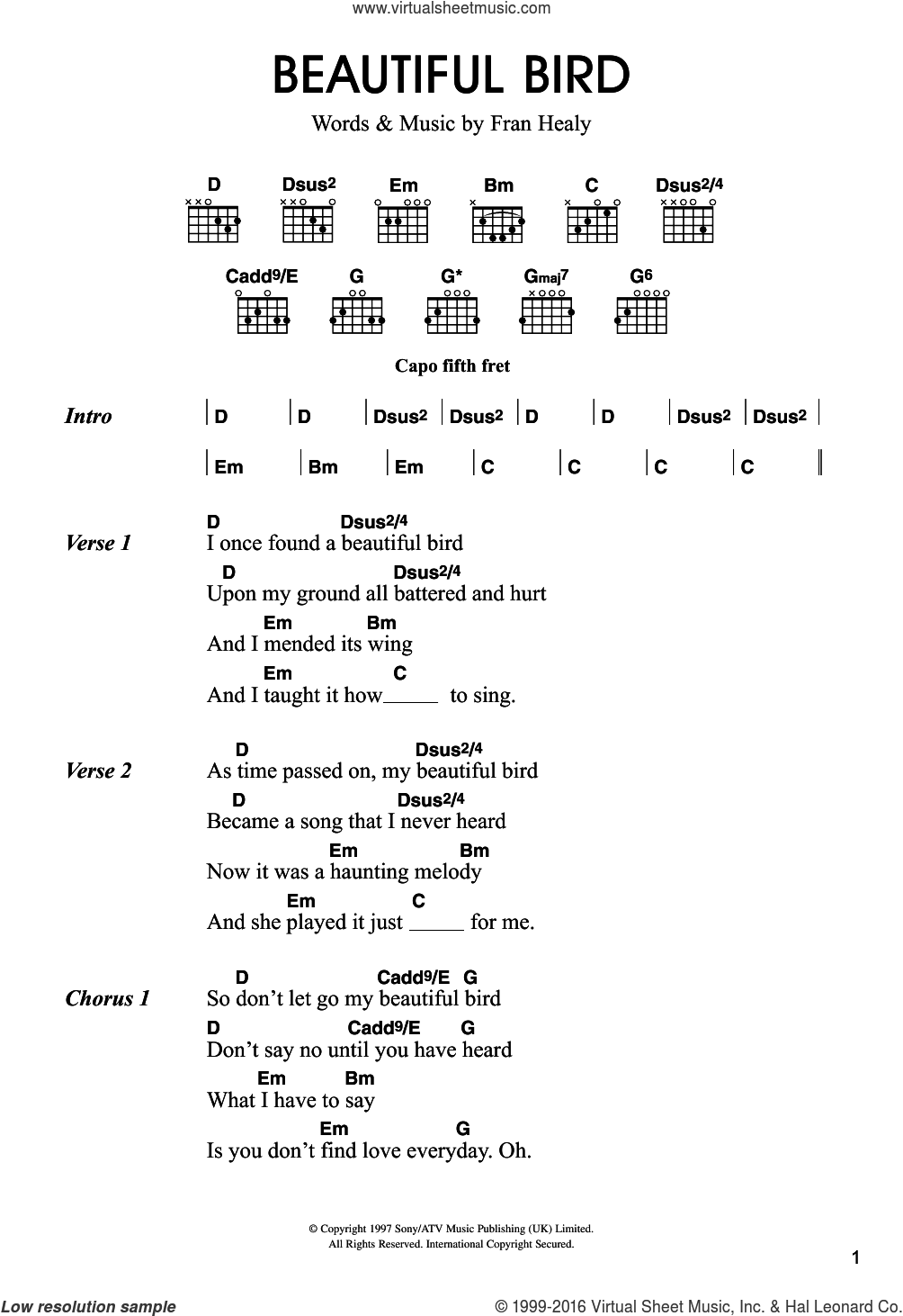 Beautiful Bird sheet music for guitar (chords) by Merle Travis and Fran Healy, intermediate skill level