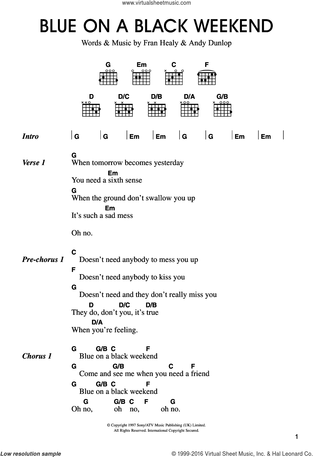 Blue On A Black Weekend sheet music for guitar (chords) by Merle Travis, Andrew Dunlop and Fran Healy, intermediate skill level