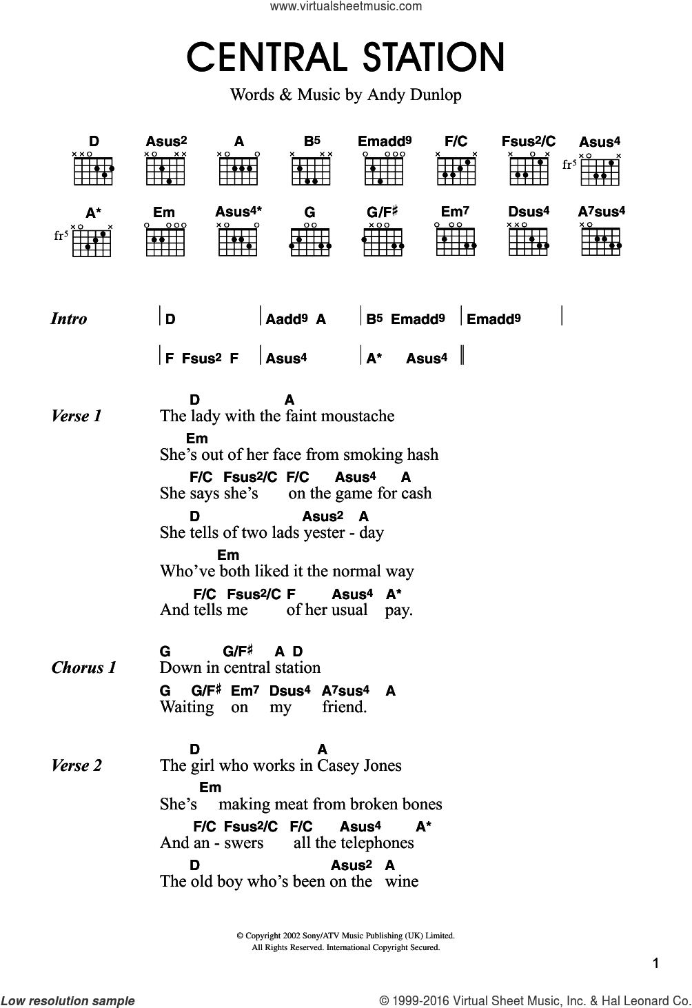 Central Station sheet music for guitar (chords) by Merle Travis, intermediate guitar (chords). Score Image Preview.