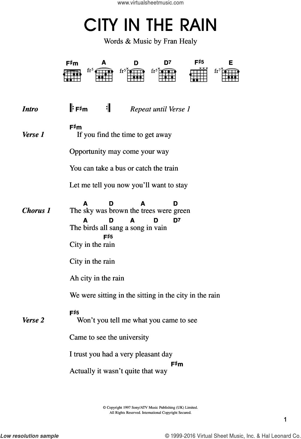 City In The Rain sheet music for guitar (chords) by Merle Travis and Fran Healy, intermediate skill level