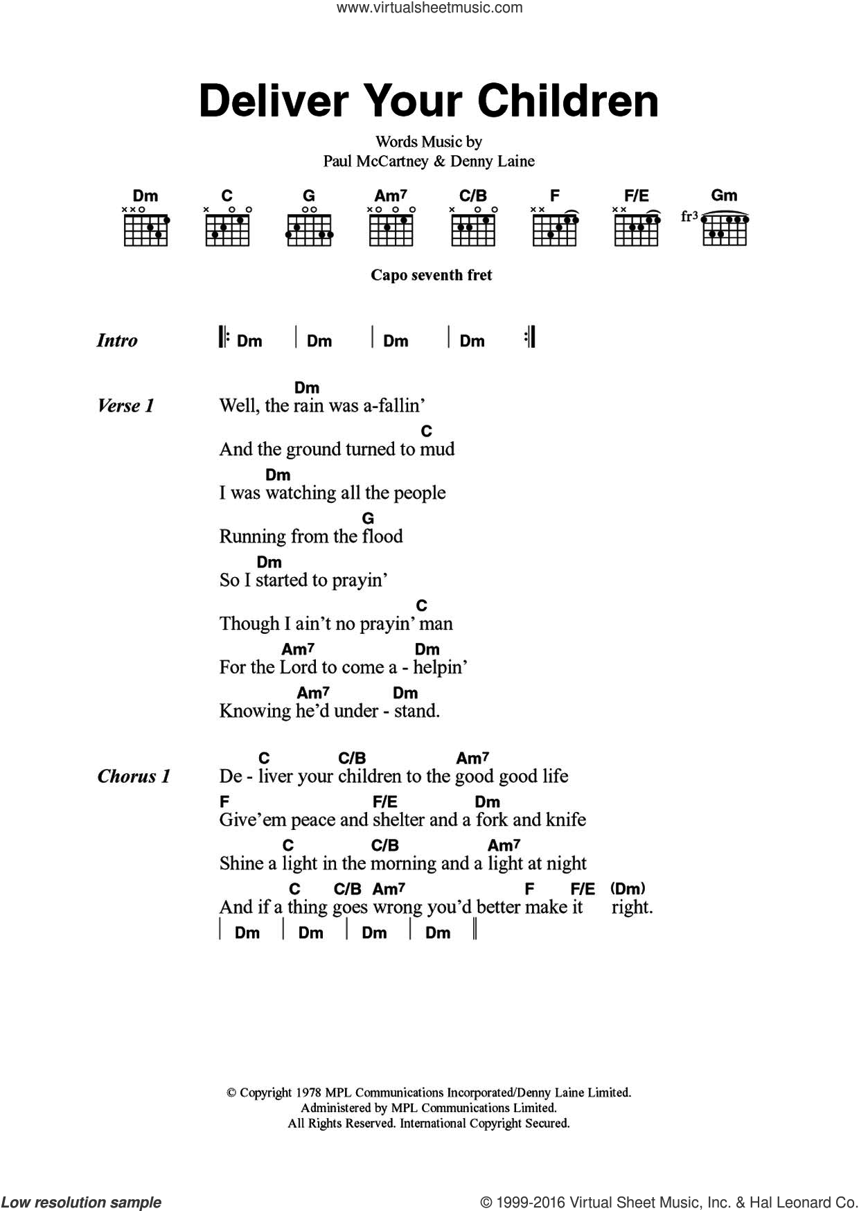Deliver Your Children sheet music for guitar (chords) by Paul McCartney, Wings and Denny Laine. Score Image Preview.
