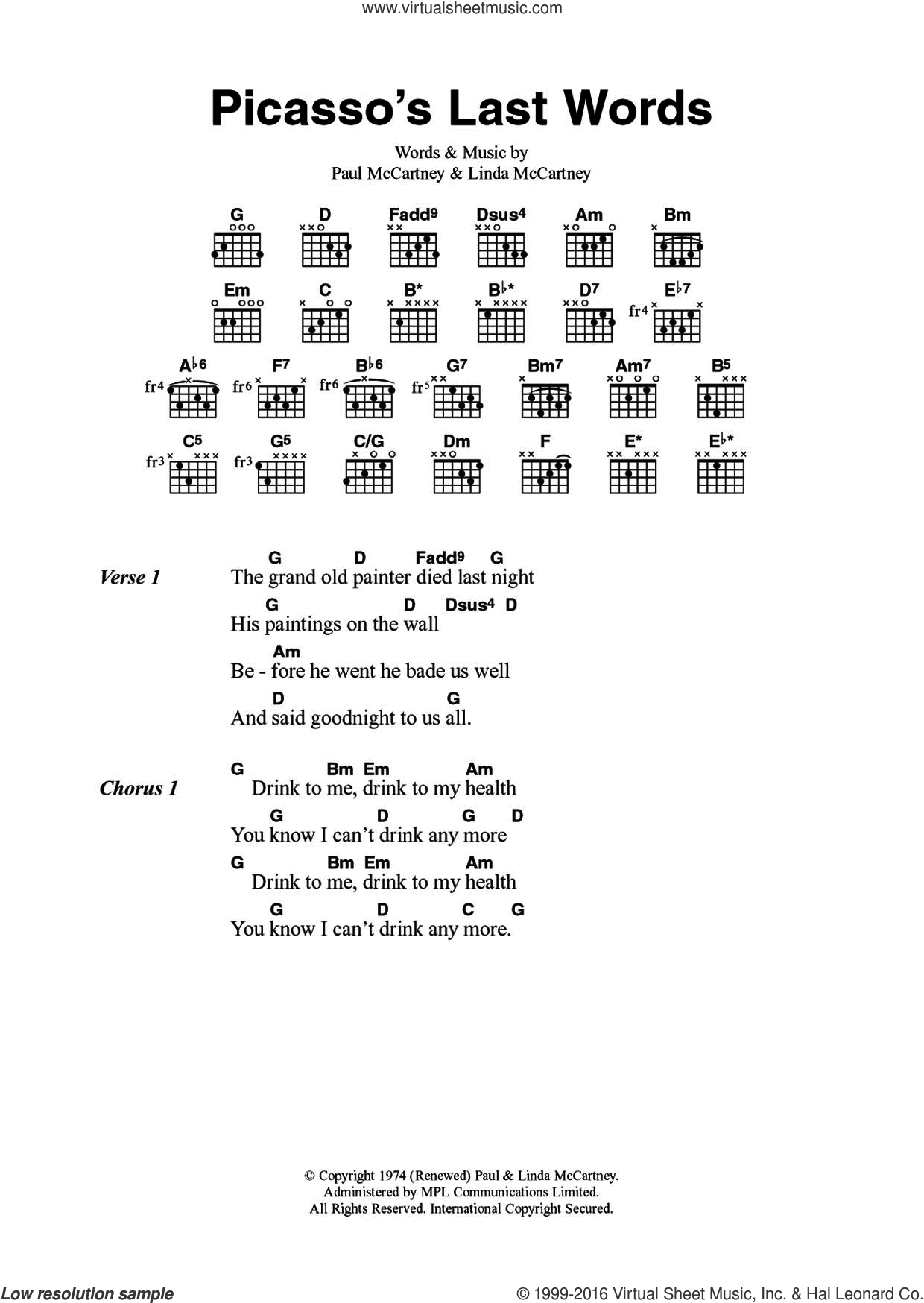 Wings Picassos Last Words Sheet Music For Guitar Chords