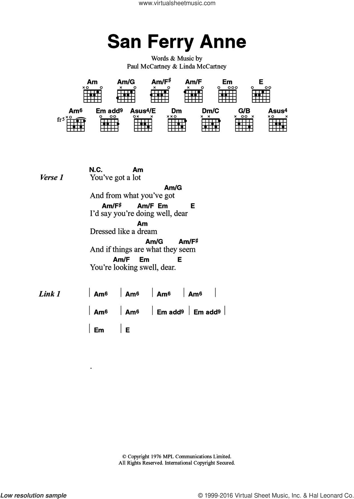 San Ferry Anne sheet music for guitar (chords) by Paul McCartney, Wings and Linda McCartney. Score Image Preview.