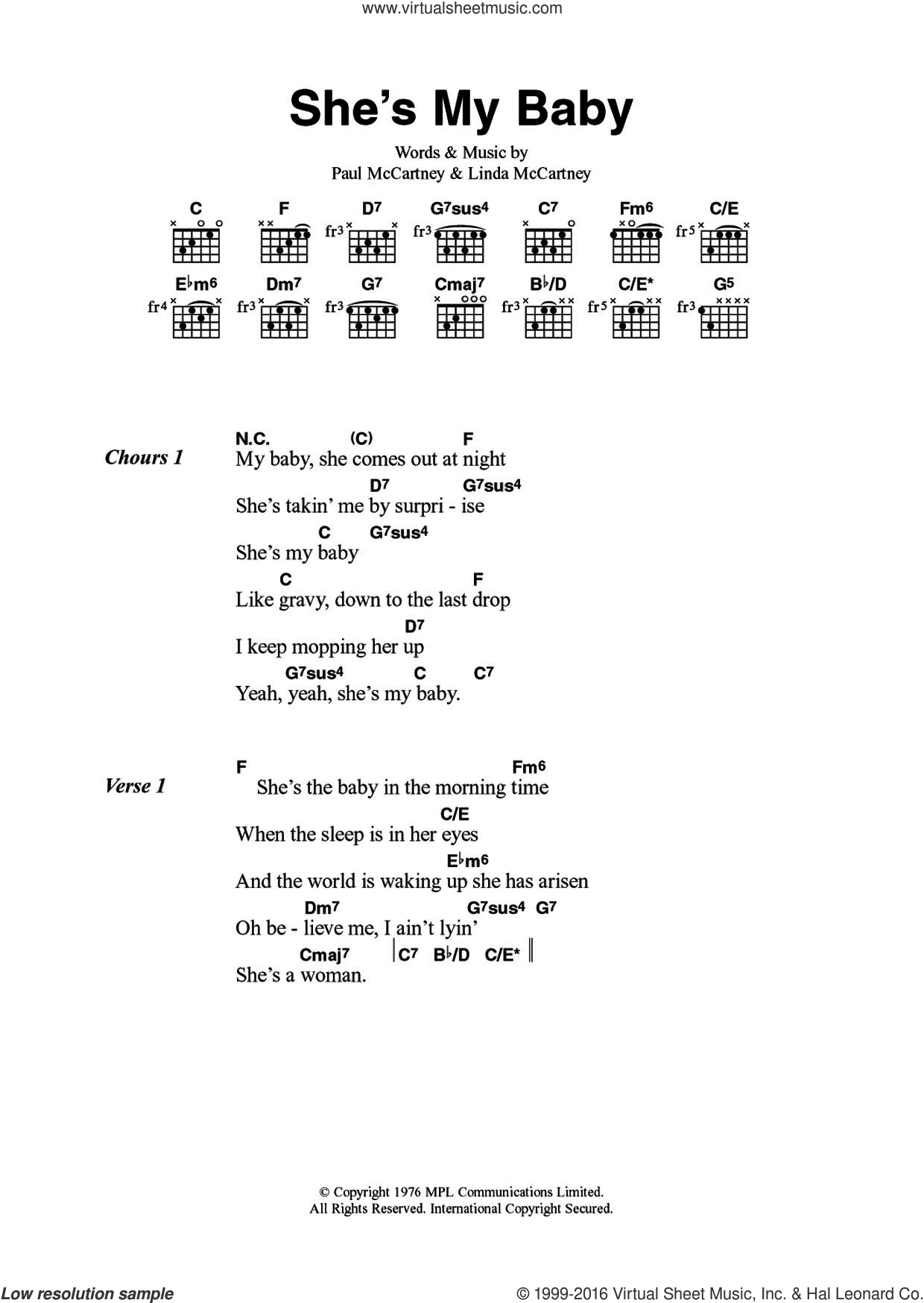 Wings Shes My Baby Sheet Music For Guitar Chords Pdf