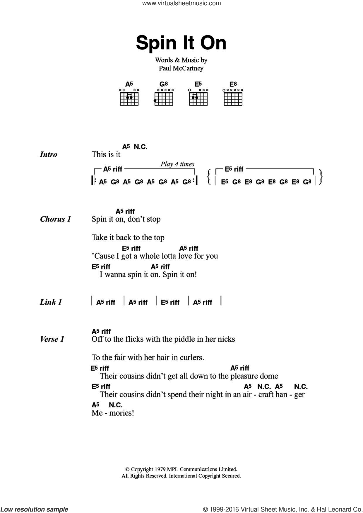 Spin It On sheet music for guitar (chords) by Paul McCartney