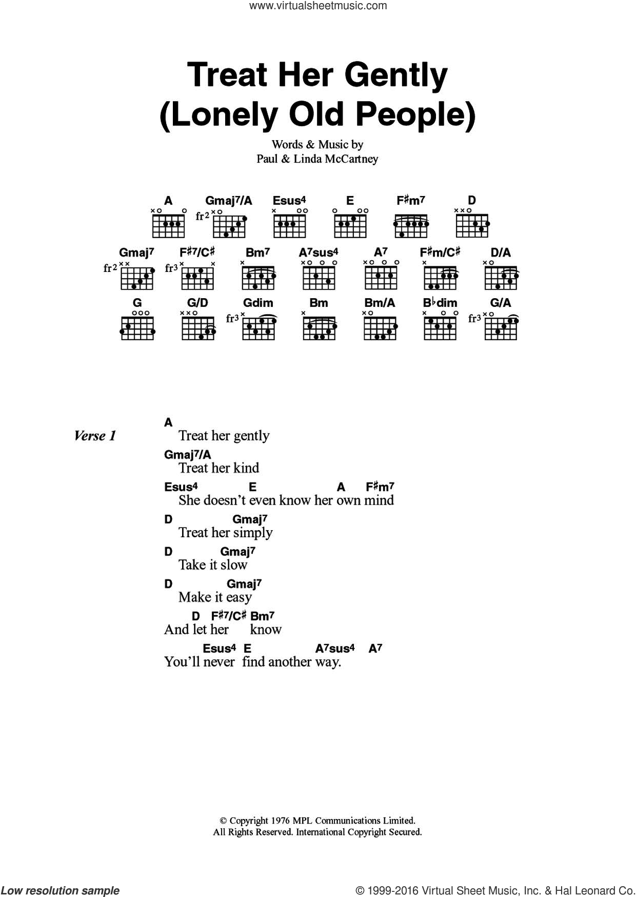 Treat Her Gently (Lonely Old People) sheet music for guitar (chords) by Wings