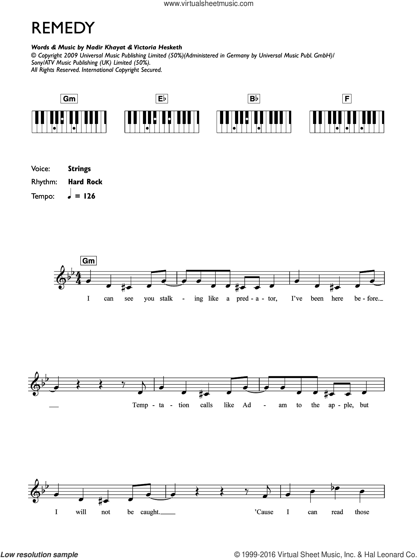 Remedy sheet music for piano solo (chords, lyrics, melody) by Little Boots, intermediate piano (chords, lyrics, melody). Score Image Preview.
