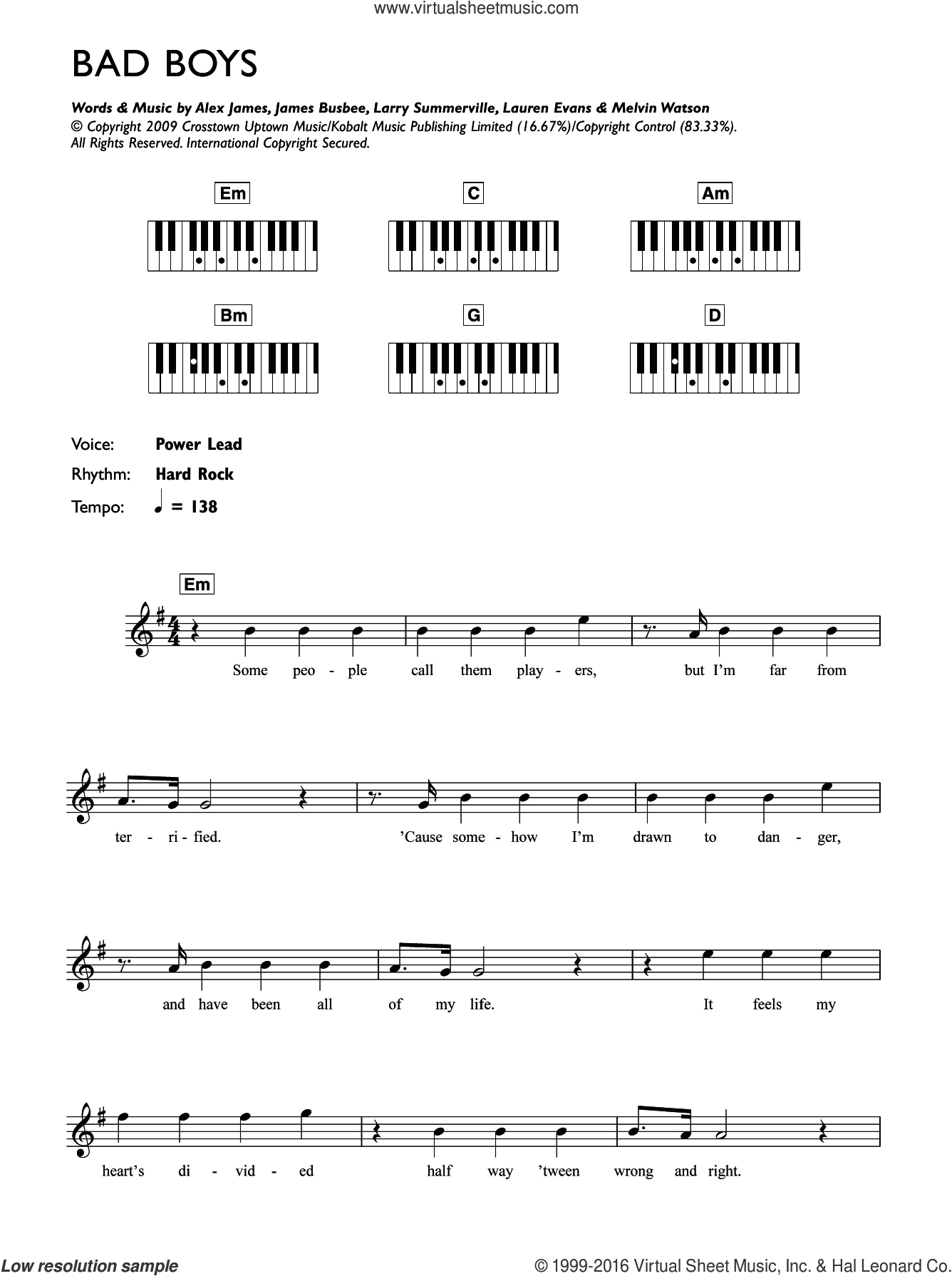 Bad Boys sheet music for piano solo (chords, lyrics, melody) by Alexandra Burke, Alex James and Lauren Evans. Score Image Preview.
