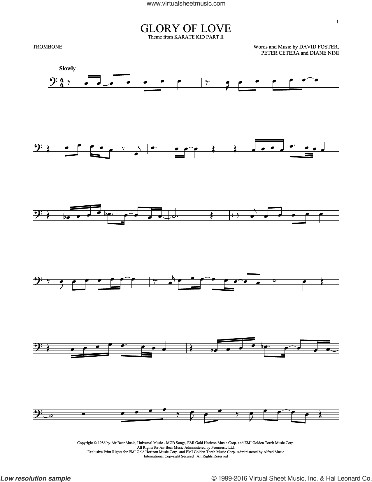 Glory Of Love sheet music for trombone solo by Peter Cetera, David Foster and Diane Nini, intermediate skill level