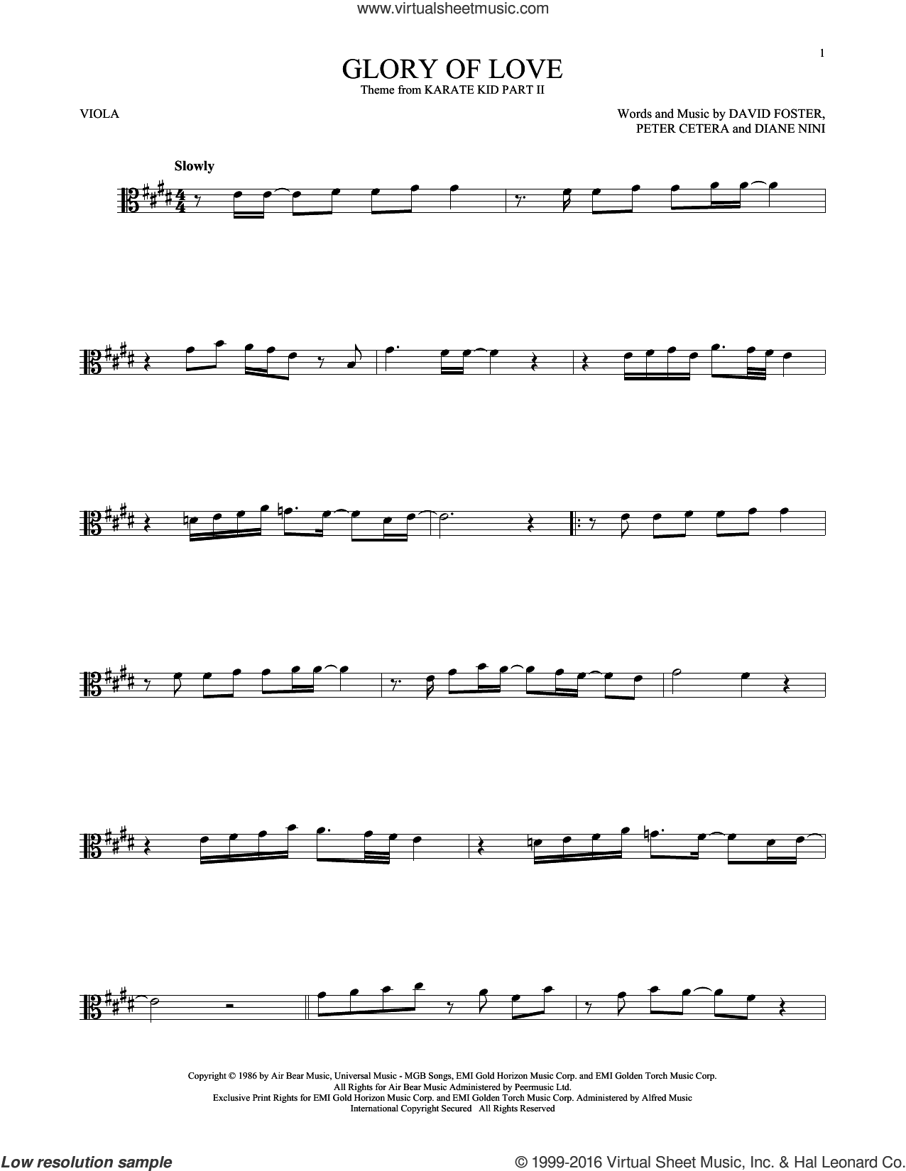 Glory Of Love sheet music for viola solo by Peter Cetera, David Foster and Diane Nini, intermediate skill level