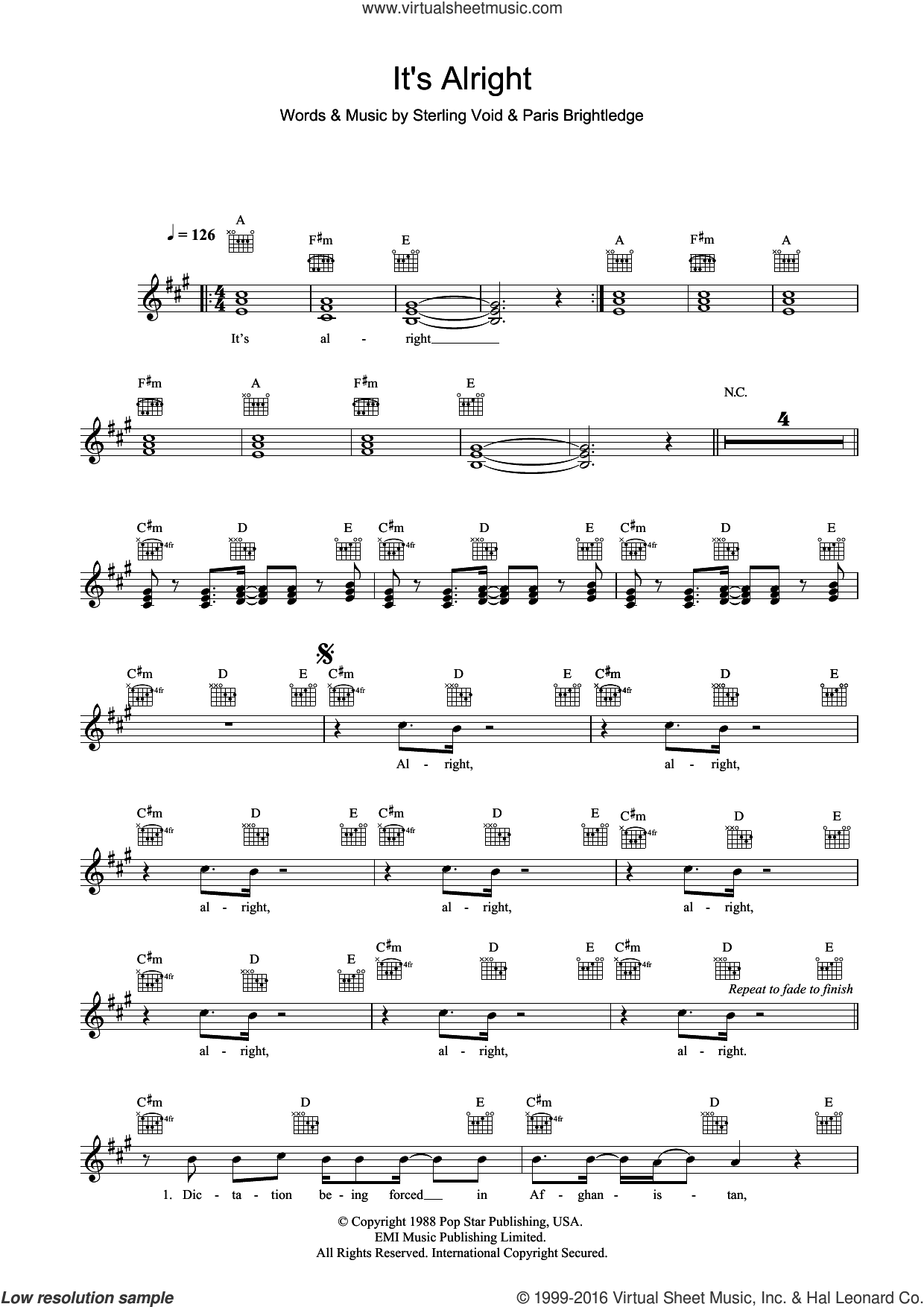 It's Alright sheet music for voice and other instruments (fake book) by Pet Shop Boys, intermediate voice. Score Image Preview.