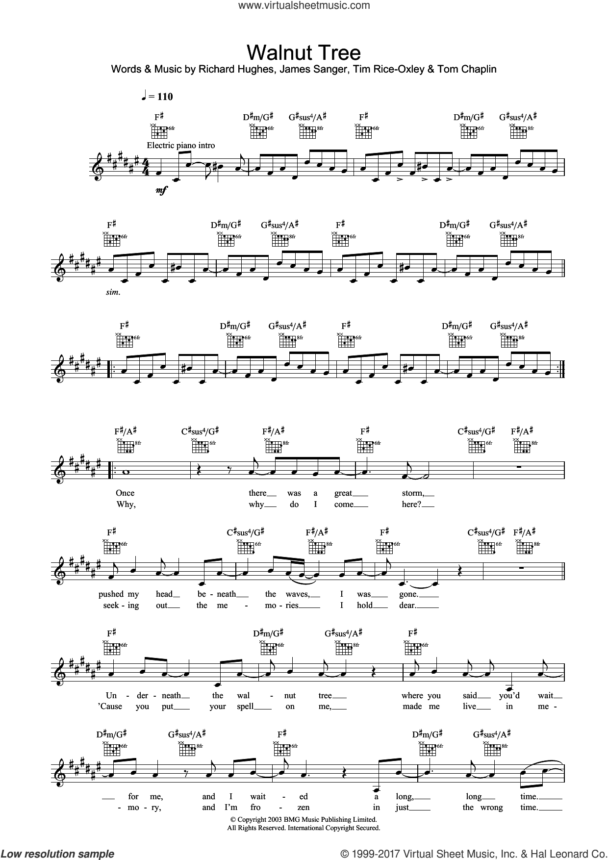 Walnut Tree sheet music for voice and other instruments (fake book) by Tim Rice-Oxley, James Sanger and Richard Hughes, intermediate. Score Image Preview.