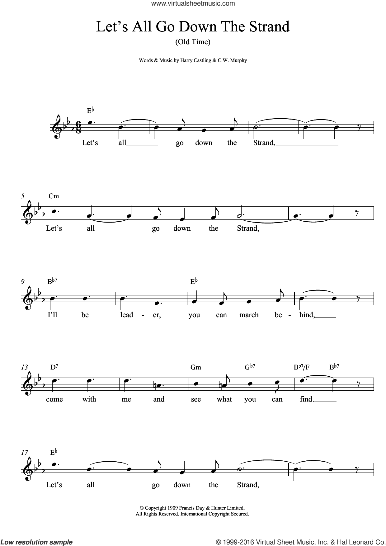 Let's All Go Down The Strand sheet music for voice and other instruments (fake book) by Harry Castling and C.W. Murphy, intermediate skill level