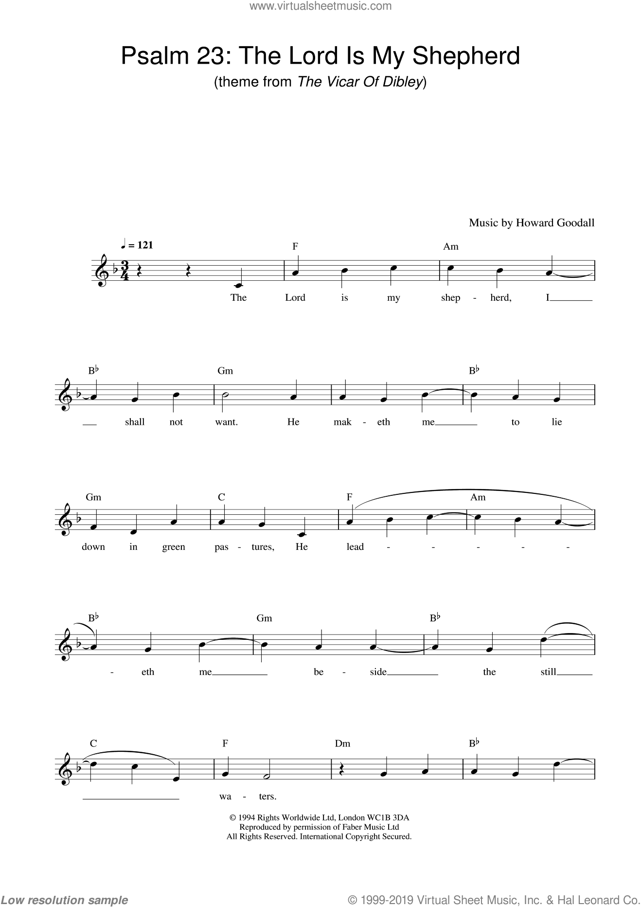 Psalm 23 - The Lord Is My Shepherd (theme from The Vicar Of Dibley) sheet music for voice and other instruments (fake book) by Howard Goodall, classical score, intermediate skill level