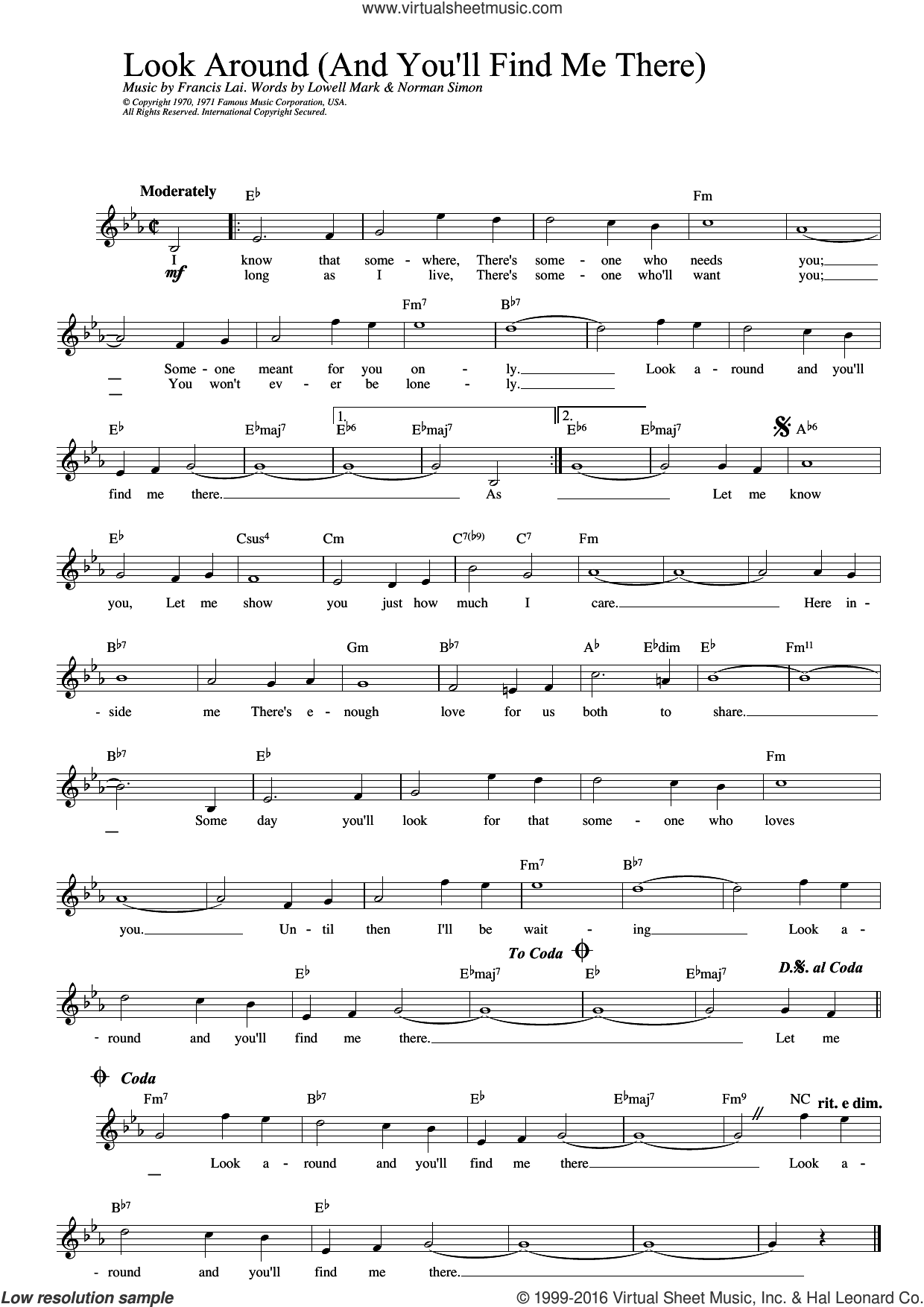 Look Around (And You'll Find Me There) (from Love Story) sheet music for voice and other instruments (fake book) by Norman Simon and Francis Lai. Score Image Preview.